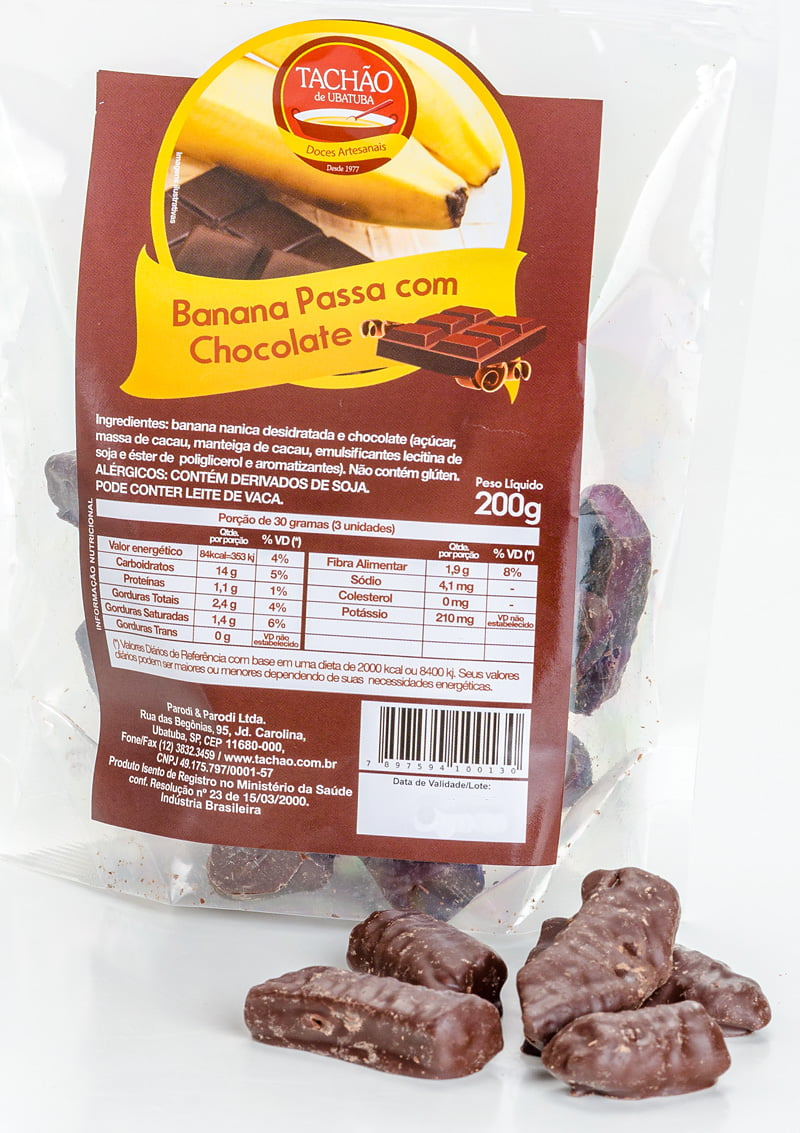 Banana Passa com Cobertura de Chocolate para 25 Pacotes