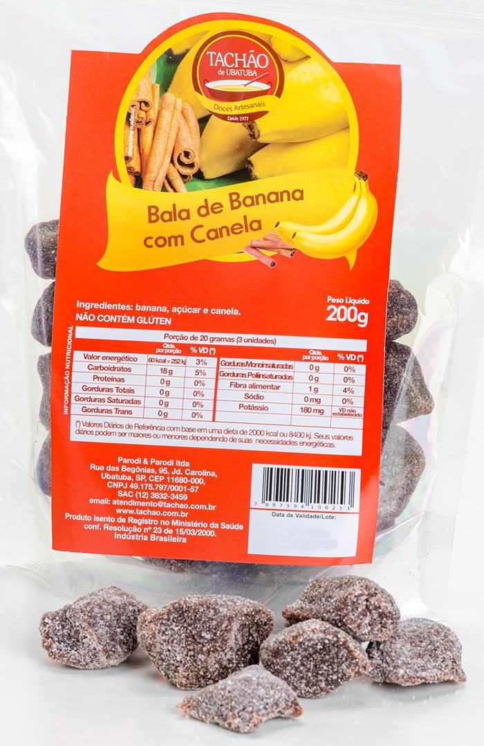 Bala Banana com Canela para 06 Pacotes